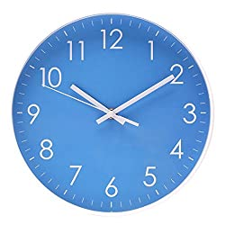 AMESSE Indoor Wall Clock, Non-Ticking Silent Quartz Modern Design Quiet Sweep Movement Battery Operated 10 Inch Round Easy to Read Wall Clocks for Living Room,Office,Bathroom,Kitchen Blue