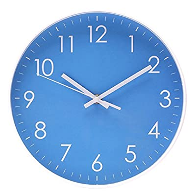 Filly Wink Simple Wall Clock Sweep Second Hand Non Ticking Battery Operated Easy to Read Decor Kitchen,Bathroom,Office 10 Inch Blue - PERFECT 10 INCH SIZE - With its stylish and understated design, quick installation, and large numerals, this 10 x 10 x 1.7 inches battery powered clock is a perfect essential for those looking to make a bold yet minimalist decorative statement OPERATES ON QUARTZ MOVEMENT. Quiet sweep second hand, no ticking ensures to confirm a good sleep or relaxed working environment and further enhance your experience .Quartz movement for accurate time keeping EASY TO READ AND EASY TO HANG. This wall clock with a Arabic numerals bright PVC face ideal for any wall.Large numbers display is easy and clear reading of time.This concise style wall clock with sturdy plastic case and glass len,easy to clean and keeps dust away from dial.Also,it is very easy to hang with keyhole hardware - wall-clocks, living-room-decor, living-room - 51W2vMiigwL. SS400  -
