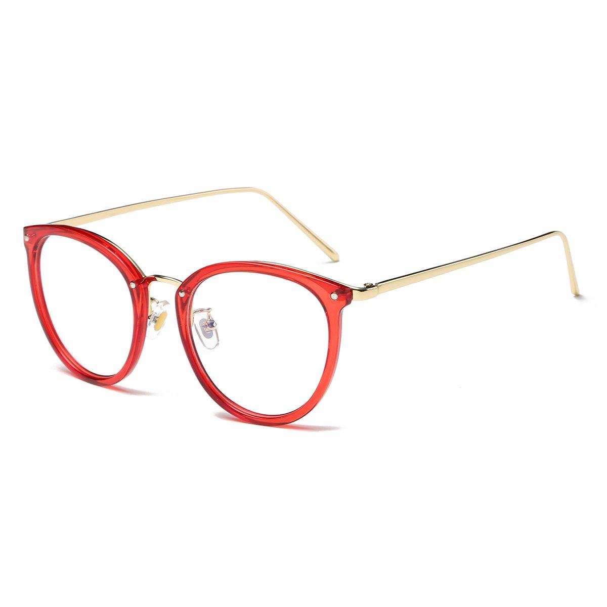 b3a87ec4678 Amomoma Fashion Round Eyewear Frame Eyeglasses Optical Frame Clear Lens  Glasses AM5001 50) larger image