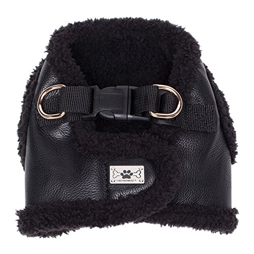 LazyBonezz Adjustable Shearling and Faux Leather Dog Harness Vest Coat, Black