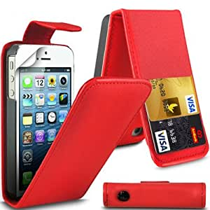 Elegance Quality Apple iPhone 5/5S Red Flip Wallet PU Leather Case Cover with Two Card slots For Apple iPhone 5/5S by G4GADGET®
