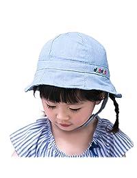 Bucket Hats Child Girls Soft Embroidery Adjustable Outdoor Spring Summer Sun Hat