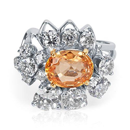AGL Certified Natural Orange Sapphire & Diamond Ring in 18k WG (2.20 (Estate Ring)