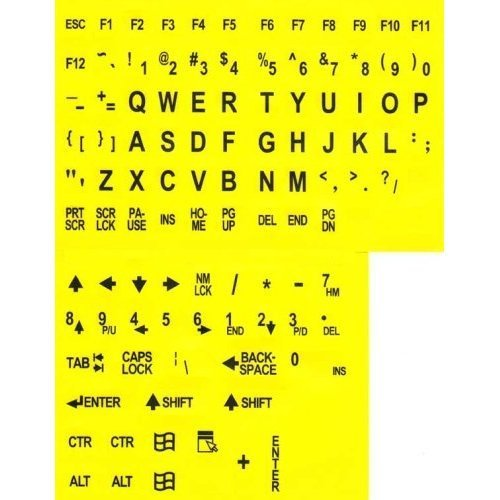 Large Print Key-Top Stickers - Black On Yellow Background, N
