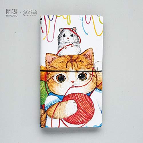 Bureze Kawaii - Taccuino con copertina in pelle sintetica, motivo: gatto portafortuna