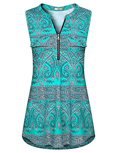 Luranee Boho Tank Tops for Women, Notch V Neck Comfy Shirts Boutique Casual Summer Blouses Breathable Light Aesthetic Delicate Flowing Flattering Stunning Clothes Green Flowers Large