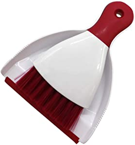 Dust Pan and Brush, Tiumso Mini Hand Broom and Dustpan Set, Dust Pan Brush Nesting Tiny Cleaning Broom, Dust Pan and Brush Set for Table, Desk, Countertop, Key Board, Cat, Dog and Other Pets, Dustpan