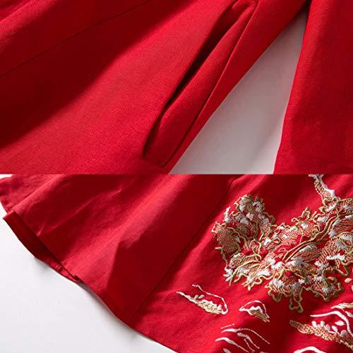 4 A Col 3 À Black Et Manches L Vintage Brodé Yahuyaka Size Pour line color Femmes Red Robe 0qYnEz