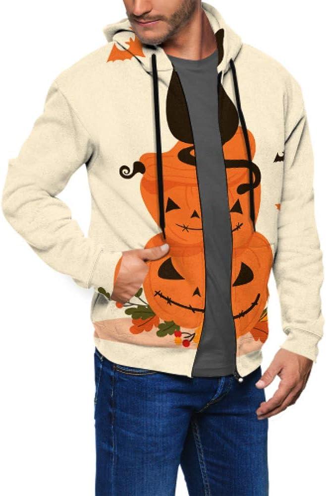 Long Sleeve Hoodie Print Halloween Objects Black Cat Sits On Jacket Zipper Coat Fashion Mens Sweatshirt Full-Zip S-3xl