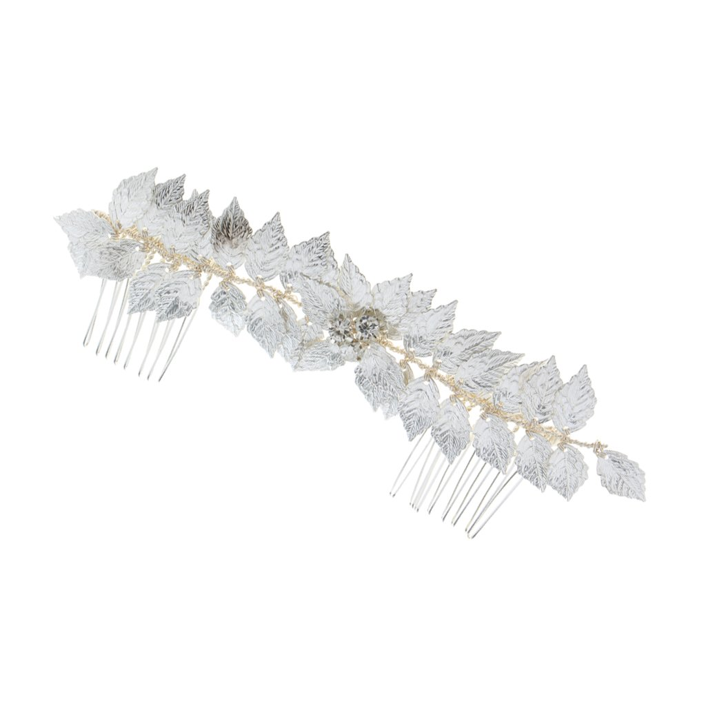 Dovewill Ladies Vintage Silver Alloy Leaves Hair Comb Wedding Party Hair Jewelry