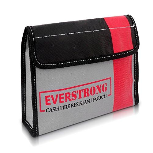 Fire Resistant Cash - Document Bag 9 x 6 x 1.5 Heavy Duty Fiberglass - Retardant Thread - Fire Safe document Pouch Money / Bank File / Important Document Holder - Retardant Envelope Heat Protection