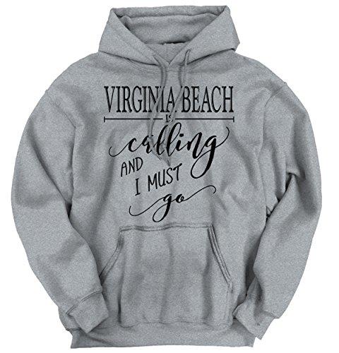 Brisco Brands Virginia Beach, VA Is Calling I Must Go Home Womens Shirt City Hoodie - City Brands Beach