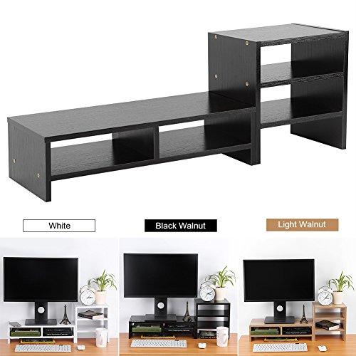 Multifunctional Computer Laptop Monitor Riser Stand Desktop Wooden Storage Organizer + 3-Layer Shelf Home Office (Black -