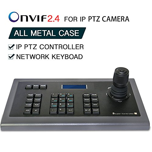 Network Keyboard LEFTEK,IP Keyboard 4D IP PTZ Controller with LCD monitor display Onvif Protocol KeyBoard For IP PTZ Camera Compatible with Hikvision/Dahua/TVT/Uniview/XM/Jovision Brand - Joystick Camera