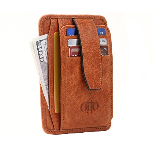 Quick Coin (Otto Italian Leather Minimalist Men's Wallet w/ Snap Fastener Cover - Slim, Credit Card Holder - Zippered Coin Slot - Quick ID and Slot Access - RFID Blocking)