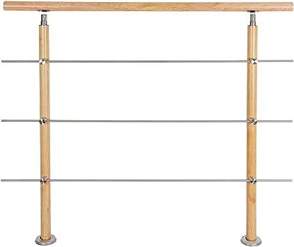HENGMEI 160cm Treppengel/änder Aluminium und Edelstahl-Handlauf Gel/änder Gel/änderst/äben Terrassengel/änder Bausatz Treppen Holzmuster 160m,2 Querstreben