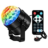 AOMEES Disco Light Disco Lights for Kids Disco Ball Light Rotating DJ Mixer Music Stand Light Party Light Bulb Sound Activated LED Strobe Light DJ Light 3W RGB Stage Lights with Remote for Decoration Festival Kids Birthday Party Club Karaoke Dancing Show
