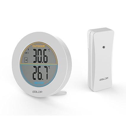 SXWY Termómetro Inalámbrico, Sensor De Termómetro Digital Redondo Interior/ Exterior, Indicador De Tendencia