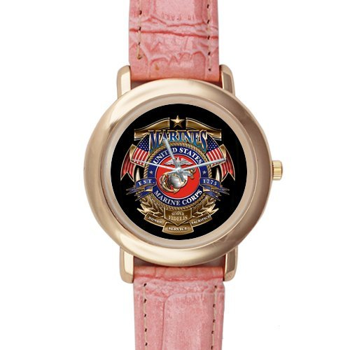 Gifts for girls or ladies United States Marine Corps (USMC) Pink Leather Alloy High-grade Watch