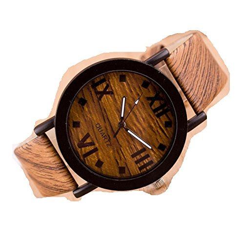 Besde Fashion Women Roman Classic Wood Leather Band Analog Quartz Vogue Wrist Watches (Wood - Vogue Summer Special
