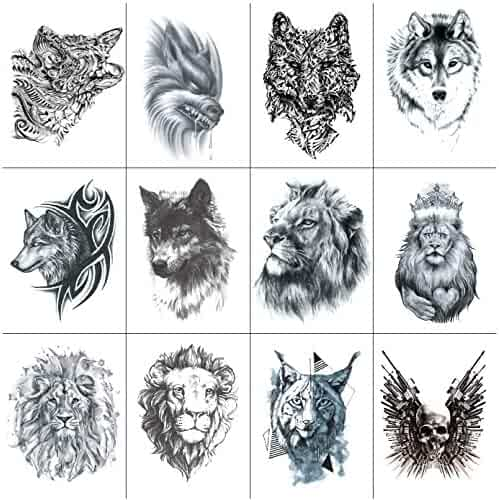 968a980c2b46a SanerLian Wolf Tattoo Sticker Lion King Tiger Fake Tatoo Temporary  Waterproof Men Boys Shoulder Arm Chest