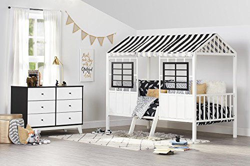 Image of the Little Seeds Rowan Valley Forest Loft Bed, Black/White, Twin