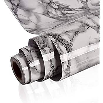 """Yenhome 24"""" x 118"""" Landscape White Faux Marble Contact Paper for Countertops Peel and Stick Wallpaper for Kitchen Cabinets Shelf Liner Self Adhesive Waterproof Bathroom Wall Decor Wall Paper"""