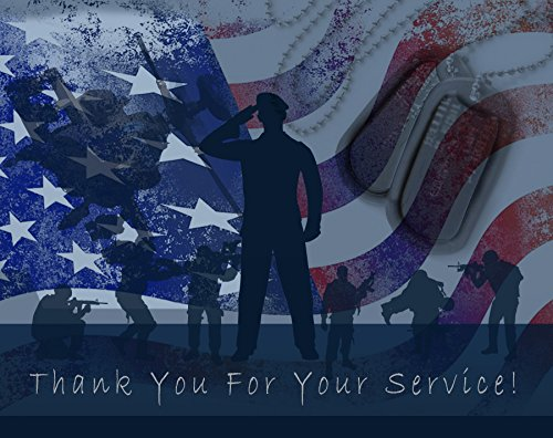 Thank You for Your Service Cards - USA - American Flag - Patriotic - Military - Blank on The Inside - Includes Cards and Envelopes - 5.5