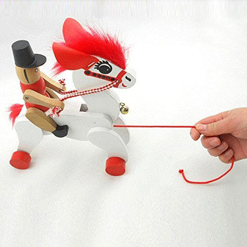 Eonkoo New Horse Wooden Push Pull Toy Cavalier for Toddler Walker,High Quality Wooden Manual Drawstring Toys for Kids Practice walking and Running
