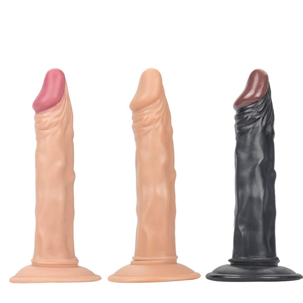 Realista Consolador Enorme Pene Bendable Masturbación Dildo Principiante Sexual Mano Juguete Sexual Masturbación Bendable Femenina Juguete 21Cm,Beige 15b007