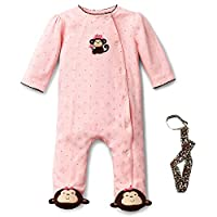 Little Me Pink Monkey Footed Newborn Baby Sleeper and No-Throw Tether 3 Month...