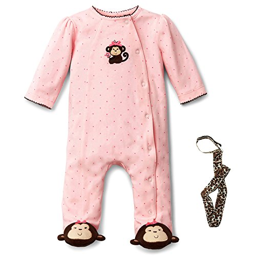 Little Me Pink and Brown Monkey Footed Pajamas and Car Seat Tether 6 Mths