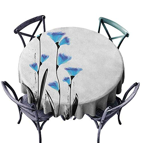 (Mannwarehouse Floral Dustproof Tablecloth Vector Flowers Turkish Ottoman Tulips in Ombre Watercolored Image Indoor Outdoor Camping Picnic D59 Sky Blue and Charcoal Grey)