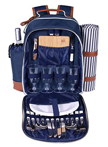 Deluxe Picnic Cooler 4 Person (Deluxe 4 Person Picnic Backpack Gift Large Insulated Food Compartment and Wine Bottle Storage Waterproof)