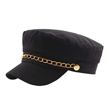 ab0d41c0f9d9e Amazon.com  Sdcvopl Elegant Beret Men and Women Retro Student Hat Gold  Chain Cotton Flat Hat Vintage  Home   Kitchen