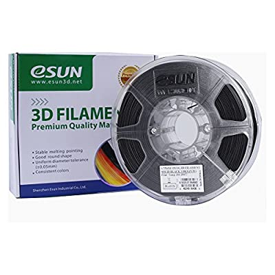 eSUN PETG filament 1.75mm Solid Black 1kg(2.2lb) Spool for Makerbot, Reprap, UP, Afinia, Flash Forge and all FDM 3D Printers, Solid Opaque Black