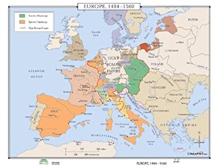 Map Of Europe With Bodies Of Water.Amazon Com World History Wall Maps Europe 1494 1560 Home Kitchen