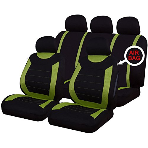 MR E SAVER/© Carnaby Green Luxury Front And Rear Full Set Seat Covers Protector Set MRCARNGREEN2348