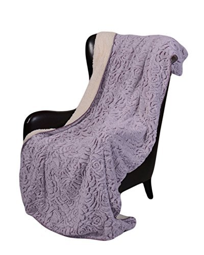 [Regal Comfort Sherpa Luxury Throw Rose Print (Purple, 50