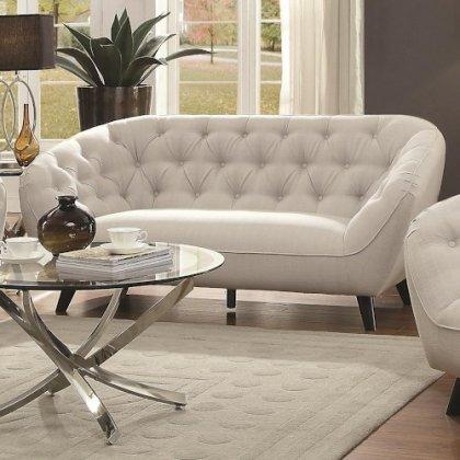 Coaster Faymoor 505912 71.75″ Mid-Century Modern Loveseat in Silver Fabric