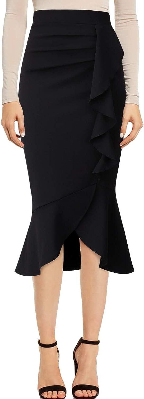 VFSHOW Womens Vintage High Waist Work Business Mermaid Midi Pencil Skirt