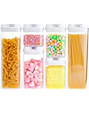 Airtight Food Storage Container Set with Lids Made by Durable BPA-Free Plastic for Keeping Food Dry & Fresh, Perfect for Cereal, Flour, Candy, Snaps
