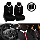 Automotive : FH GROUP FB058102 Endearing Bowtie Flat Cloth Seat Covers w. FREE Steering wheel cover and Seat belt pads, Tie