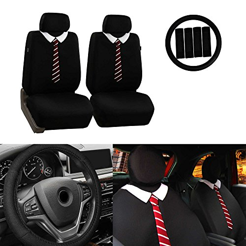 FH Group FB058102 Endearing Bowtie Flat Cloth Seat Covers w. Free Steering Wheel Cover and Seat Belt Pads, ()