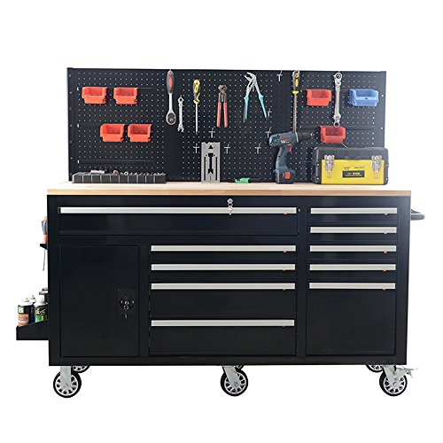 (62Inch Professional Roller Tool Cabinets - 10 Drawers Cabinet with Power sockets, Pegboard on the back, adjustable shelf in the drawer SKU# XTB6210 Frontier)