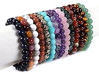 """Gem Semi Precious Gemstone 8mm Round Beads Stretch Bracelet 7"""" Unisex"""