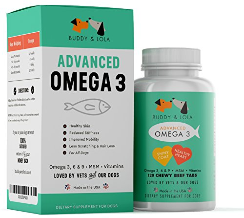 Omega 3 For Dogs by Buddy & Lola - Pet Fish Oil Supplement 120 Tablets – Natural Ingredients with DHA & EPA – Odor and Burp Free – Healthy Coat, Skin and Itch Relief for Dogs