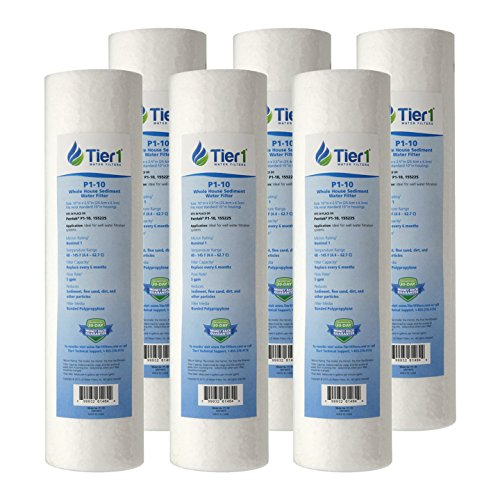 Tier1 P1 1 Micron 10 x 2.5 Spun Wound Polypropylene Sediment Pentek Comparable Replacement Water Filter 6 Pack by Tier1