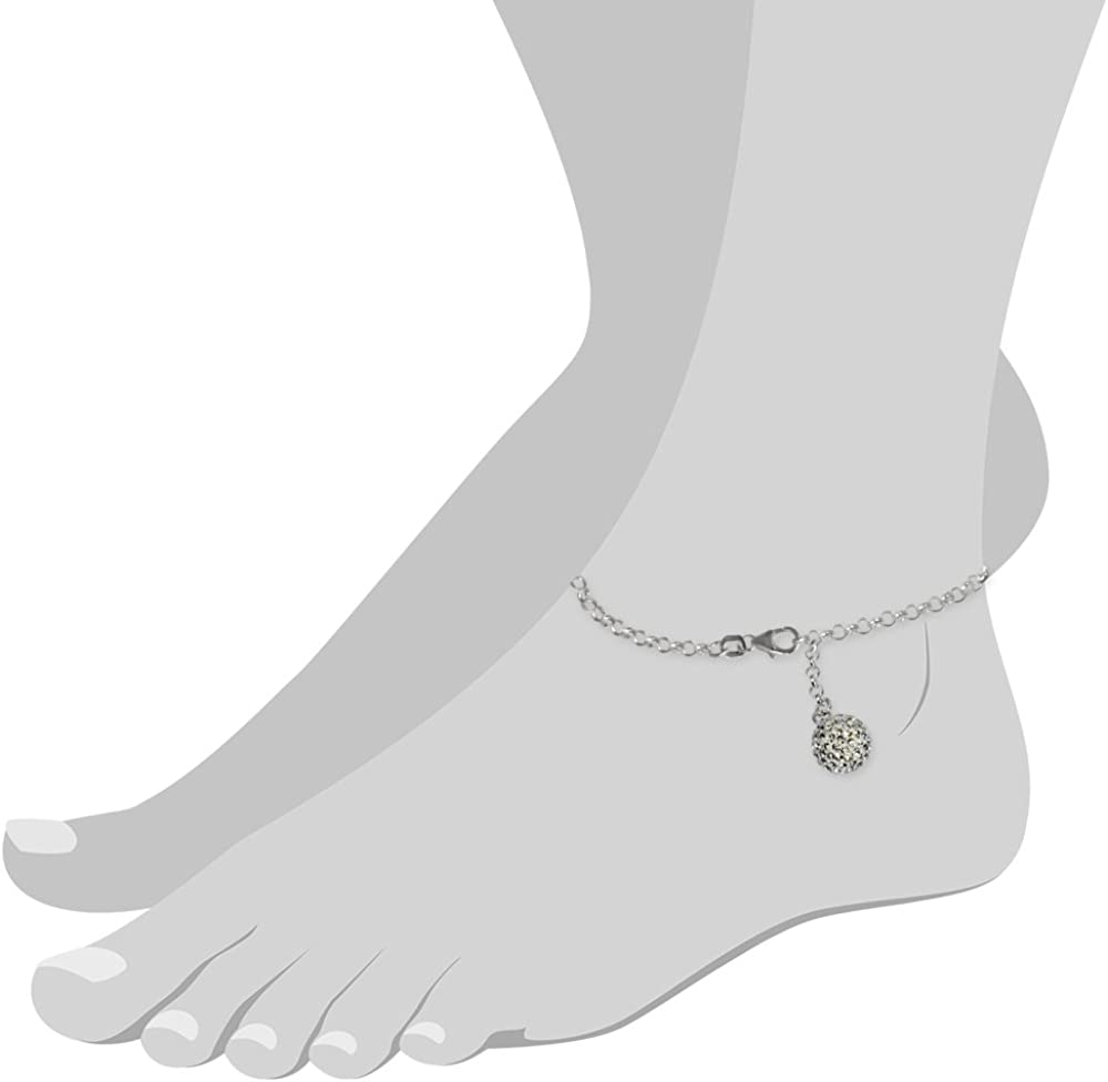 9.84 inch SilberDream anklet with silver balls and pink zirconia 925 Sterling Silver SDF023A