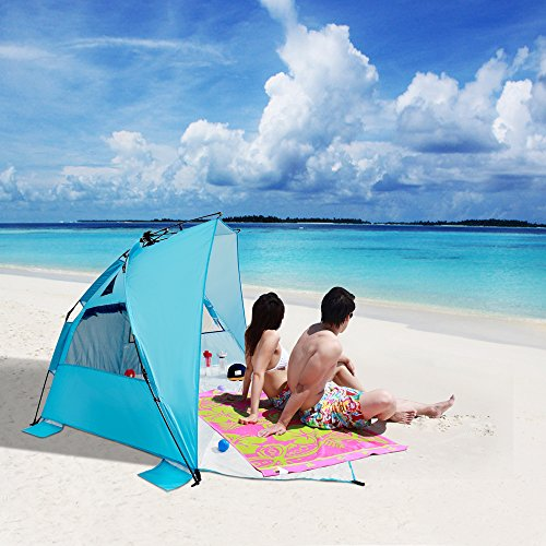 "Sun Shelters,Odoland Superfast Automatic Pop Up Instant Portable Outdoors Beach tent,UPF 50+ Sun Protection Polyester Tent For Kids, Family, Beach, Camping, Park,Big Extended Size 94""x78"",Blue"